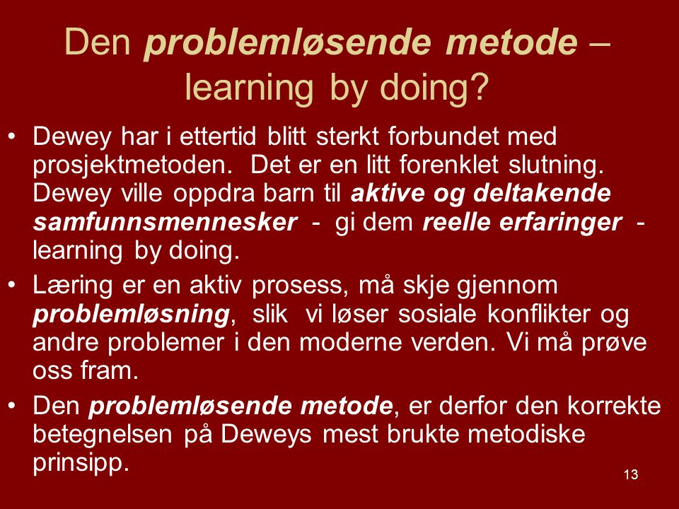 Den problemløsende metode – learning by doing