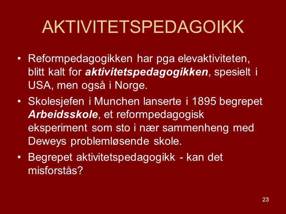 AKTIVITETSPEDAGOIKK Reformpedagogikken har pga elevaktiviteten, blitt kalt for aktivitetspedagogikken, spesielt i USA, men også i Norge.