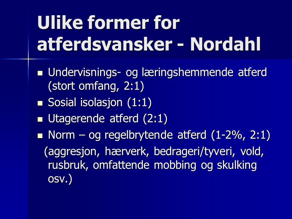 Ulike former for atferdsvansker - Nordahl
