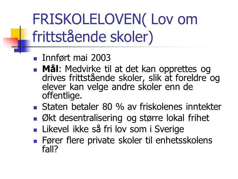 FRISKOLELOVEN( Lov om frittstående skoler)
