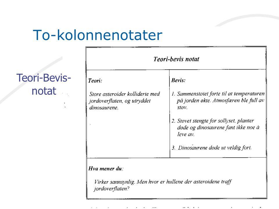 To-kolonnenotater Teori-Bevis-notat