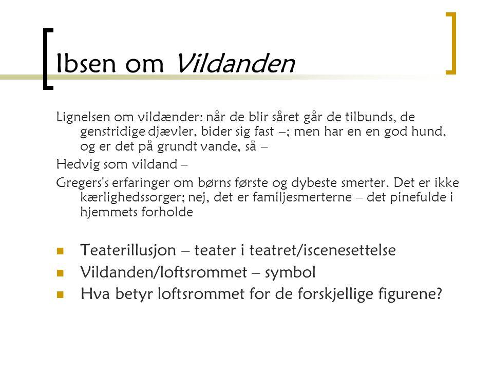 Ibsen om Vildanden Teaterillusjon – teater i teatret/iscenesettelse