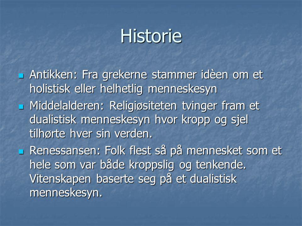 Historie Antikken: Fra grekerne stammer idèen om et holistisk eller helhetlig menneskesyn.