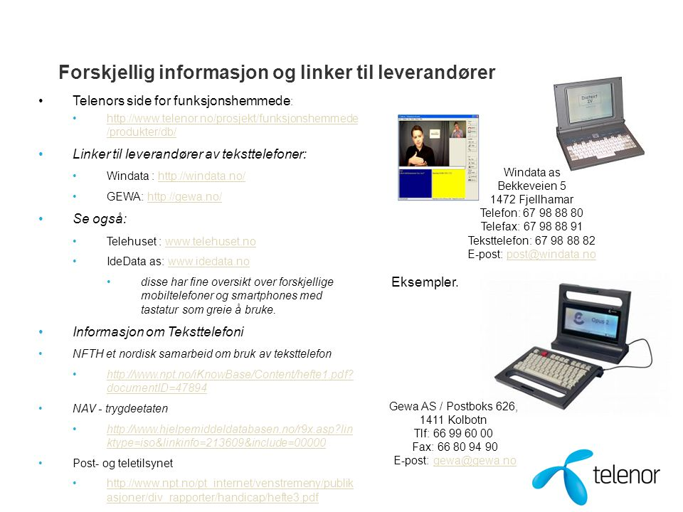 Forskjellig informasjon og linker til leverandører