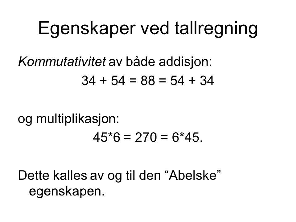 Egenskaper ved tallregning