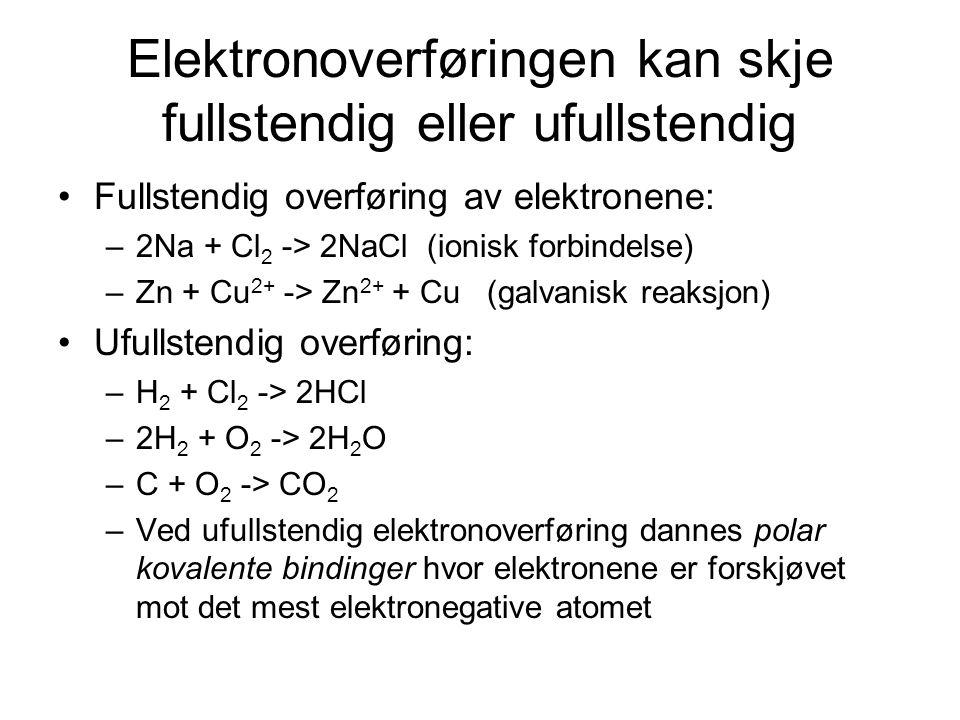 Elektronoverføringen kan skje fullstendig eller ufullstendig
