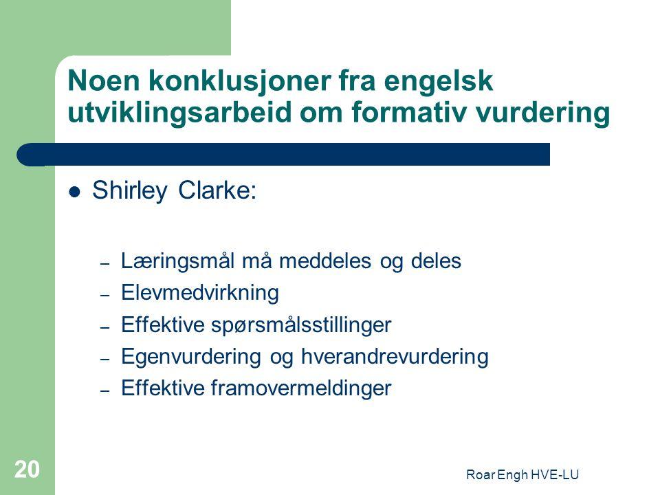 Noen konklusjoner fra engelsk utviklingsarbeid om formativ vurdering