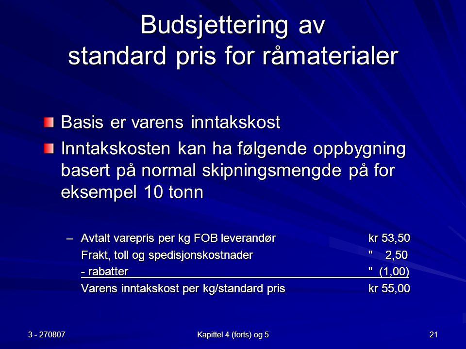 Budsjettering av standard pris for råmaterialer