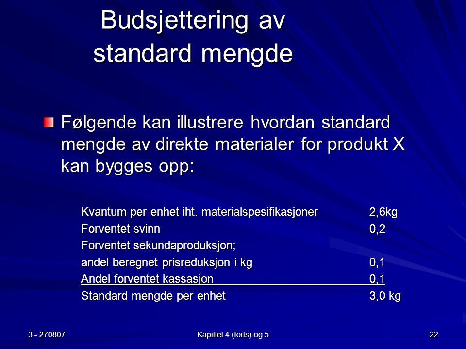 Budsjettering av standard mengde