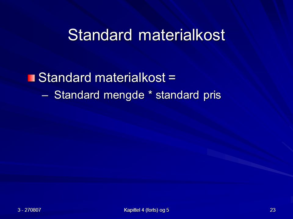 Standard materialkost