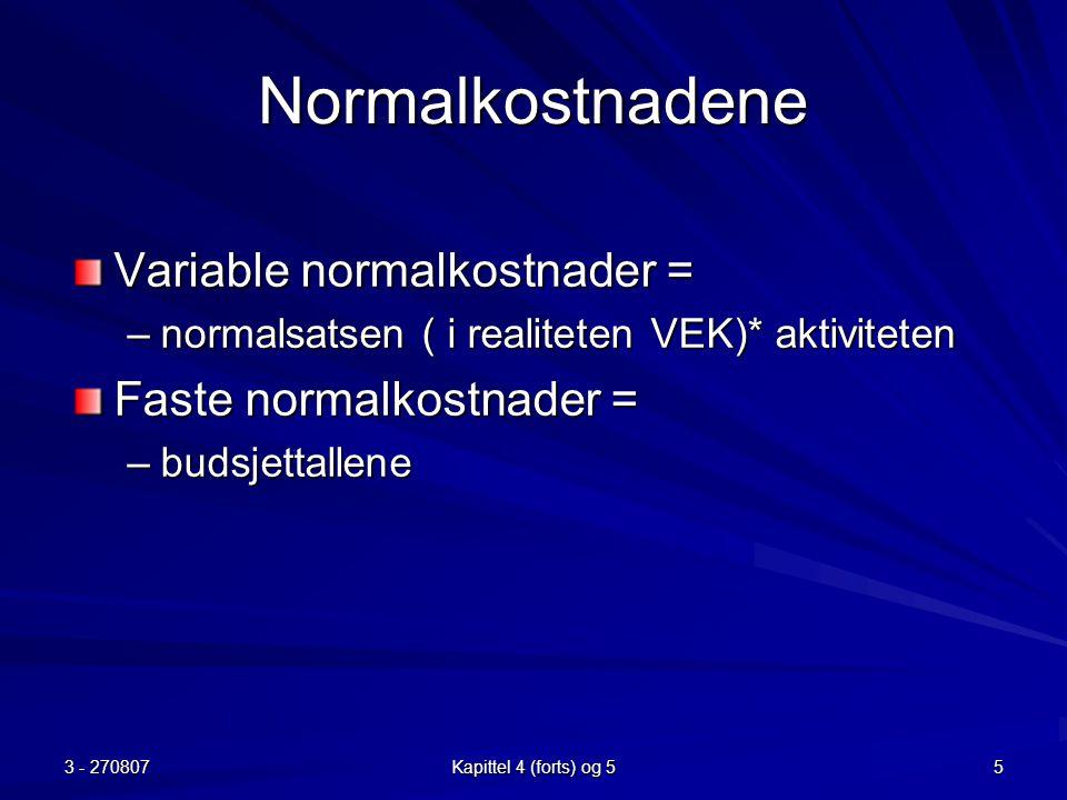 Normalkostnadene Variable normalkostnader = Faste normalkostnader =
