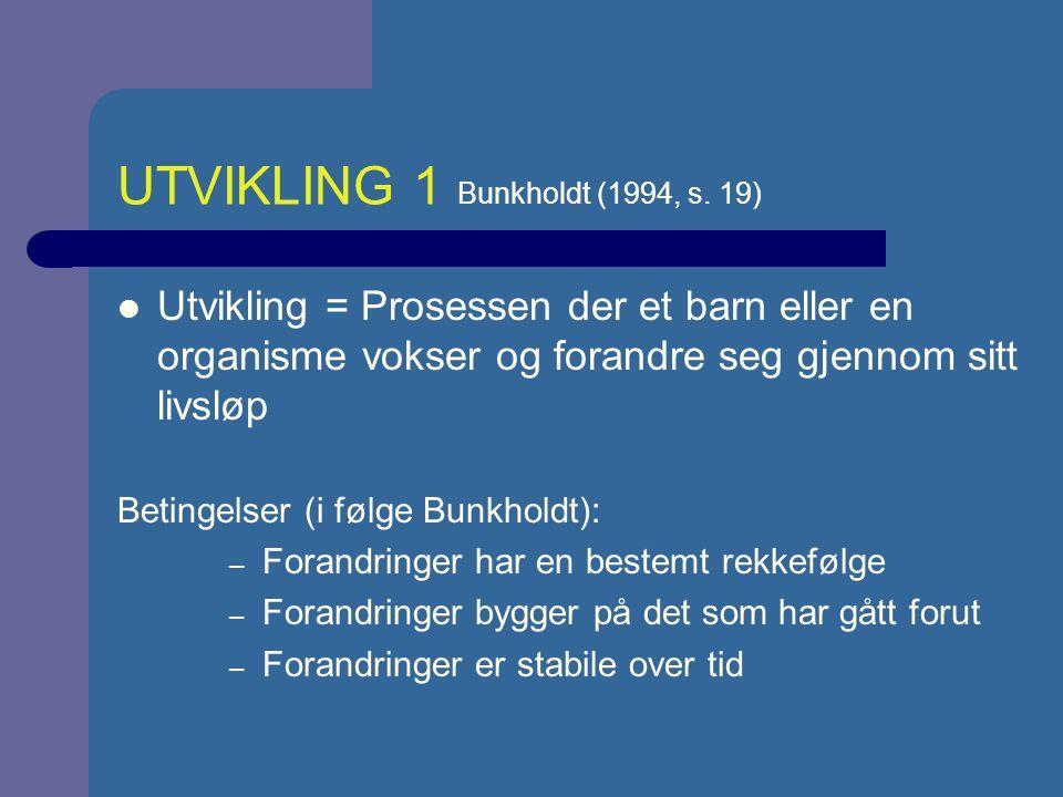 UTVIKLING 1 Bunkholdt (1994, s. 19)
