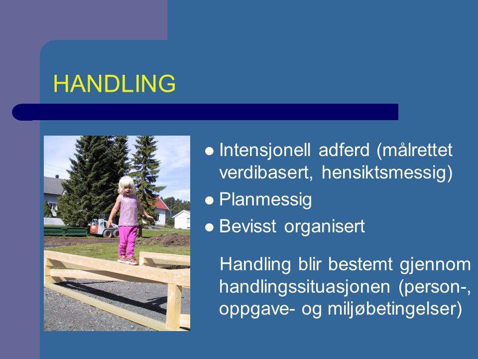 HANDLING Intensjonell adferd (målrettet verdibasert, hensiktsmessig)