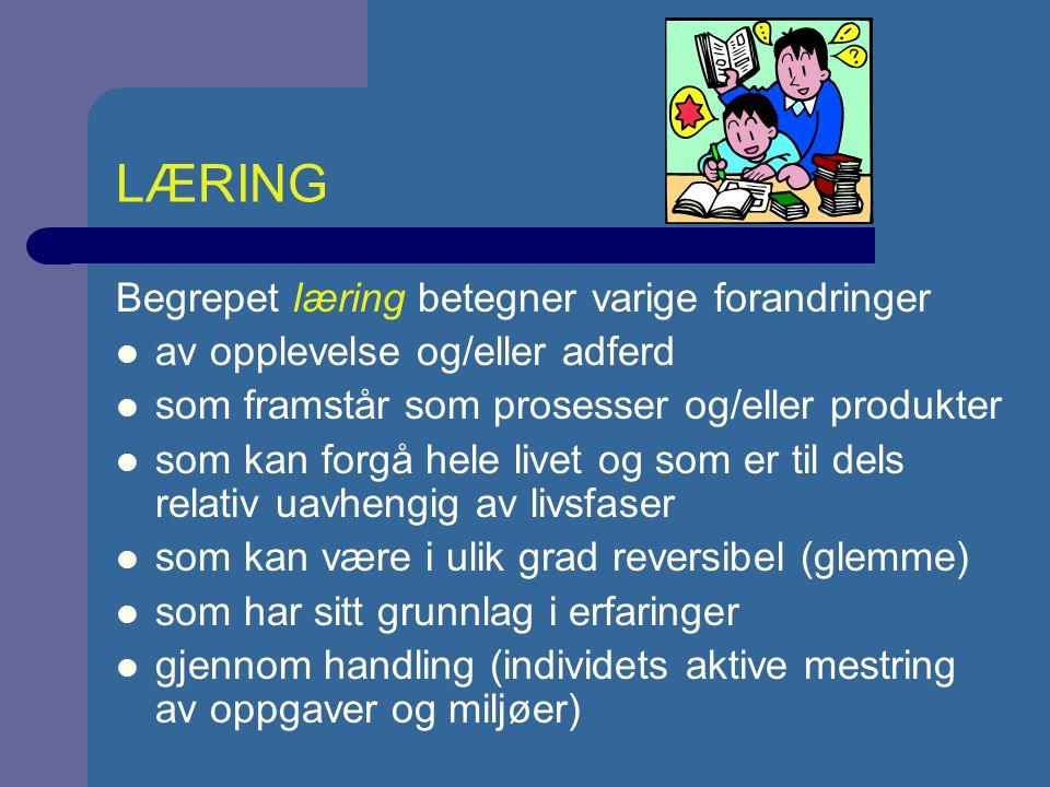 LÆRING Begrepet læring betegner varige forandringer