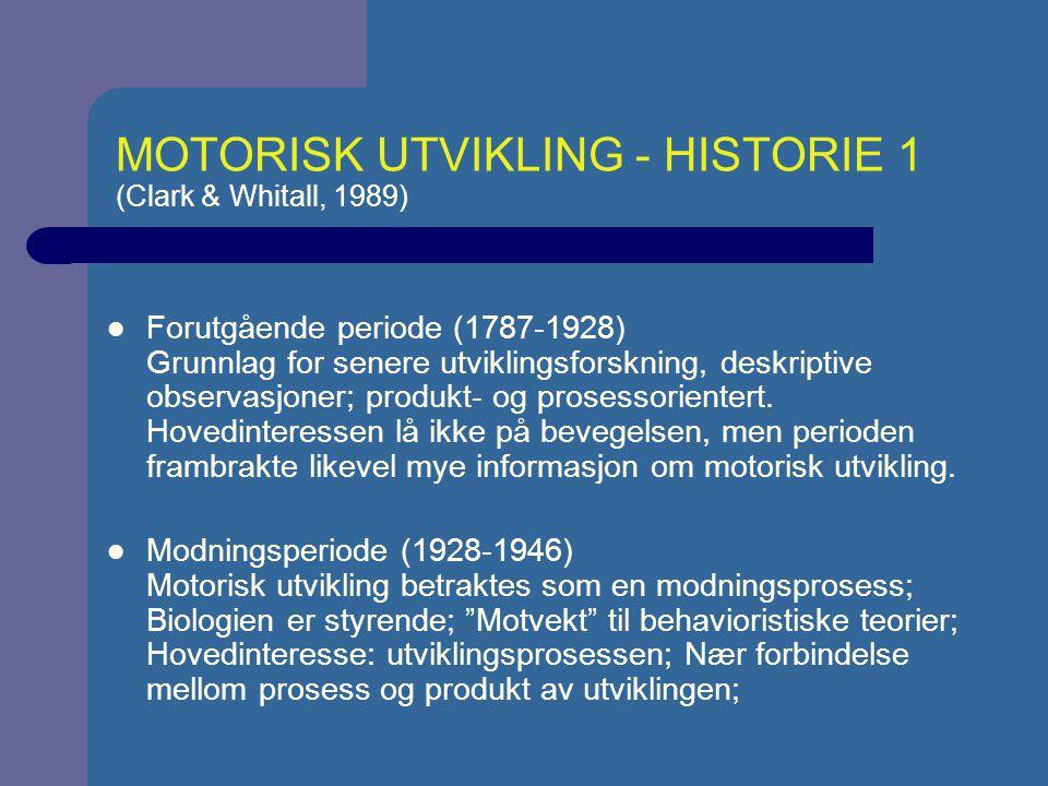 MOTORISK UTVIKLING - HISTORIE 1 (Clark & Whitall, 1989)