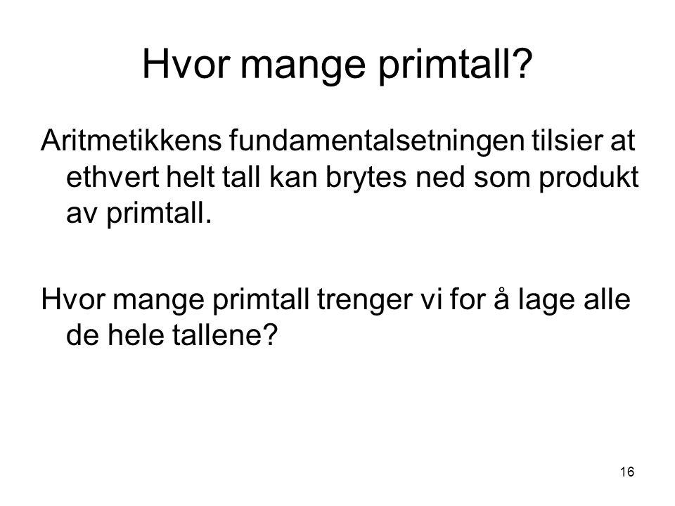 Hvor mange primtall Aritmetikkens fundamentalsetningen tilsier at ethvert helt tall kan brytes ned som produkt av primtall.