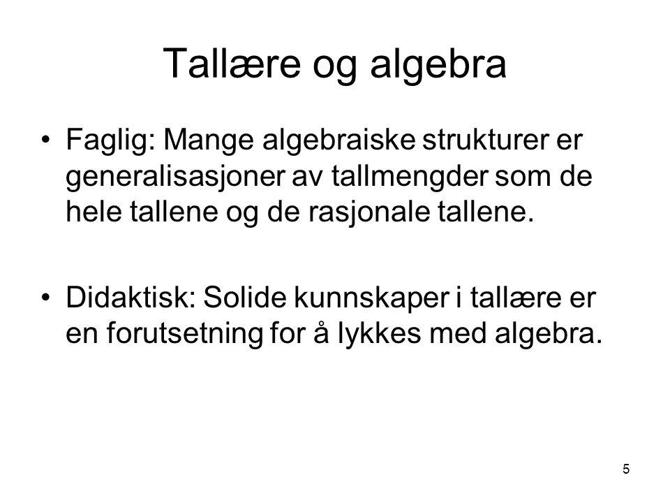 Tallære og algebra Faglig: Mange algebraiske strukturer er generalisasjoner av tallmengder som de hele tallene og de rasjonale tallene.