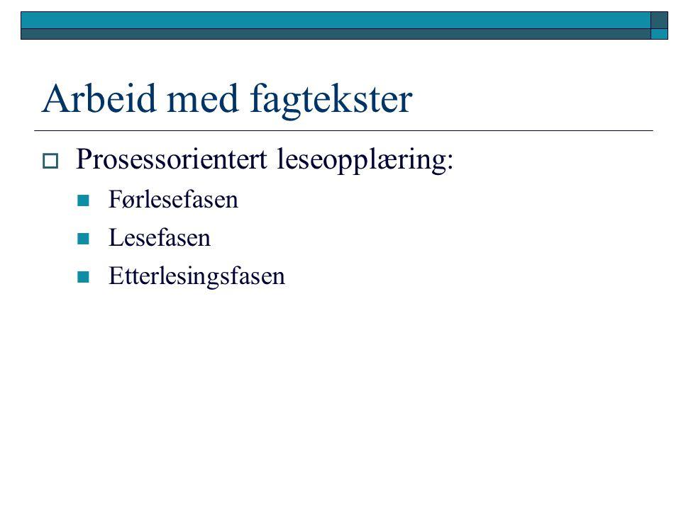 Arbeid med fagtekster Prosessorientert leseopplæring: Førlesefasen