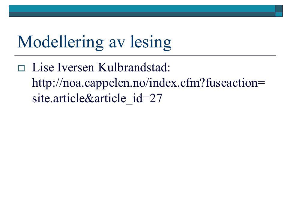 Modellering av lesing Lise Iversen Kulbrandstad: http://noa.cappelen.no/index.cfm fuseaction=site.article&article_id=27.