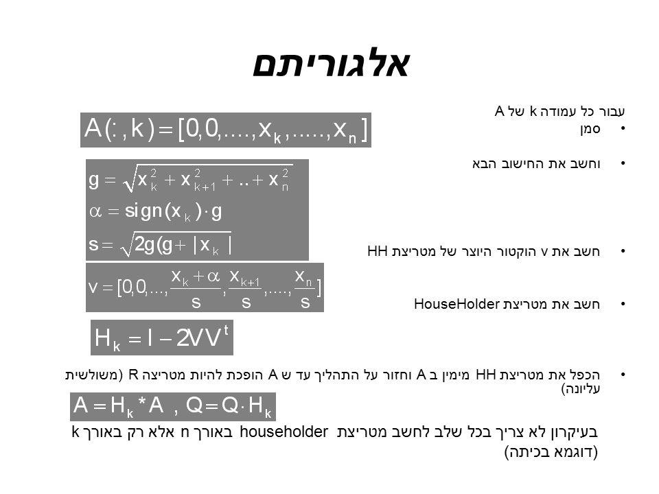 אלגוריתם עבור כל עמודהk של A. סמן. וחשב את החישוב הבא. חשב את v הוקטור היוצר של מטריצת HH. חשב את מטריצת HouseHolder.