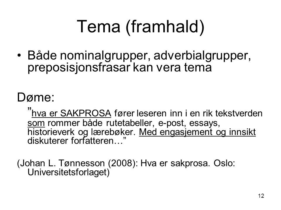 Tema (framhald) Både nominalgrupper, adverbialgrupper, preposisjonsfrasar kan vera tema. Døme: