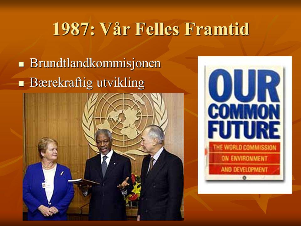 1987: Vår Felles Framtid Brundtlandkommisjonen Bærekraftig utvikling