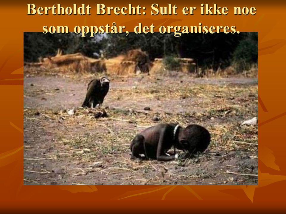 Bertholdt Brecht: Sult er ikke noe som oppstår, det organiseres.
