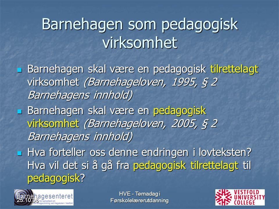Barnehagen som pedagogisk virksomhet