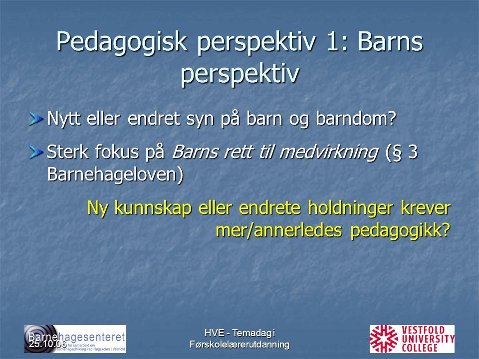 Pedagogisk perspektiv 1: Barns perspektiv