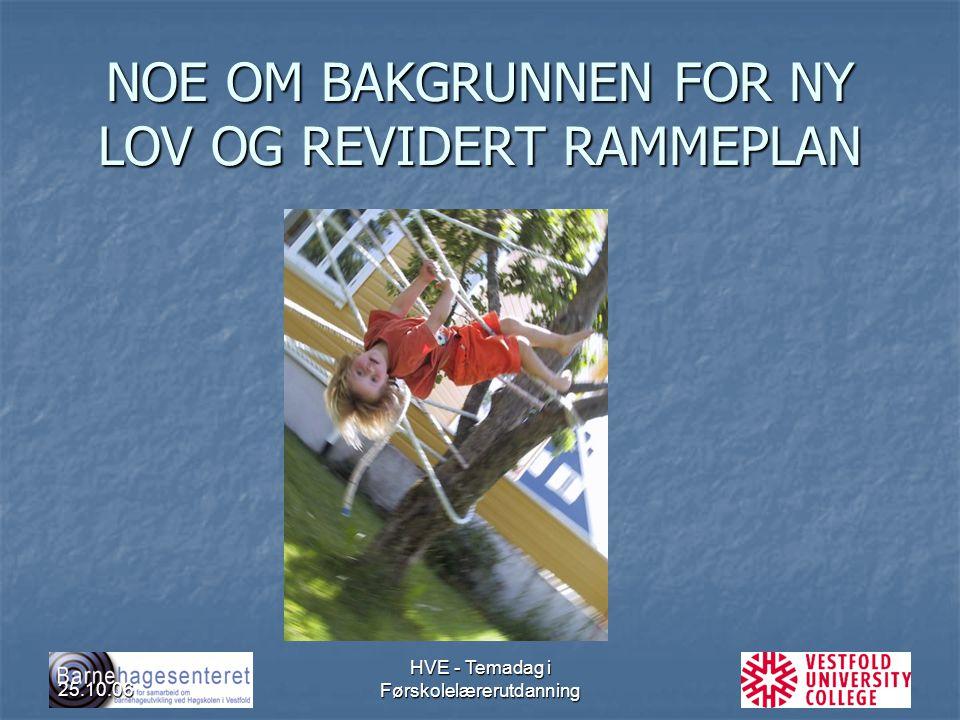 NOE OM BAKGRUNNEN FOR NY LOV OG REVIDERT RAMMEPLAN