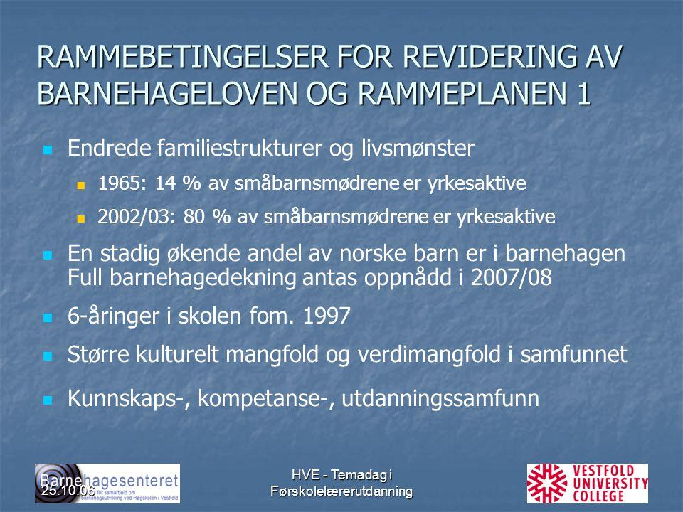 RAMMEBETINGELSER FOR REVIDERING AV BARNEHAGELOVEN OG RAMMEPLANEN 1
