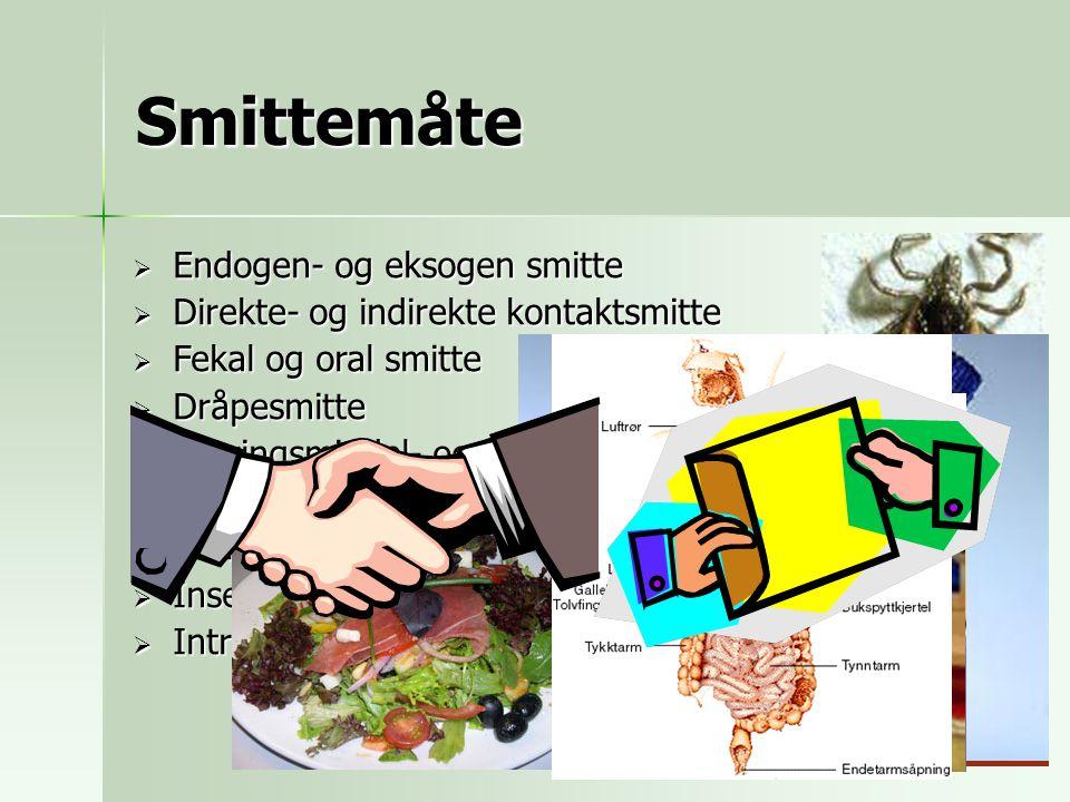 Smittemåte Endogen- og eksogen smitte
