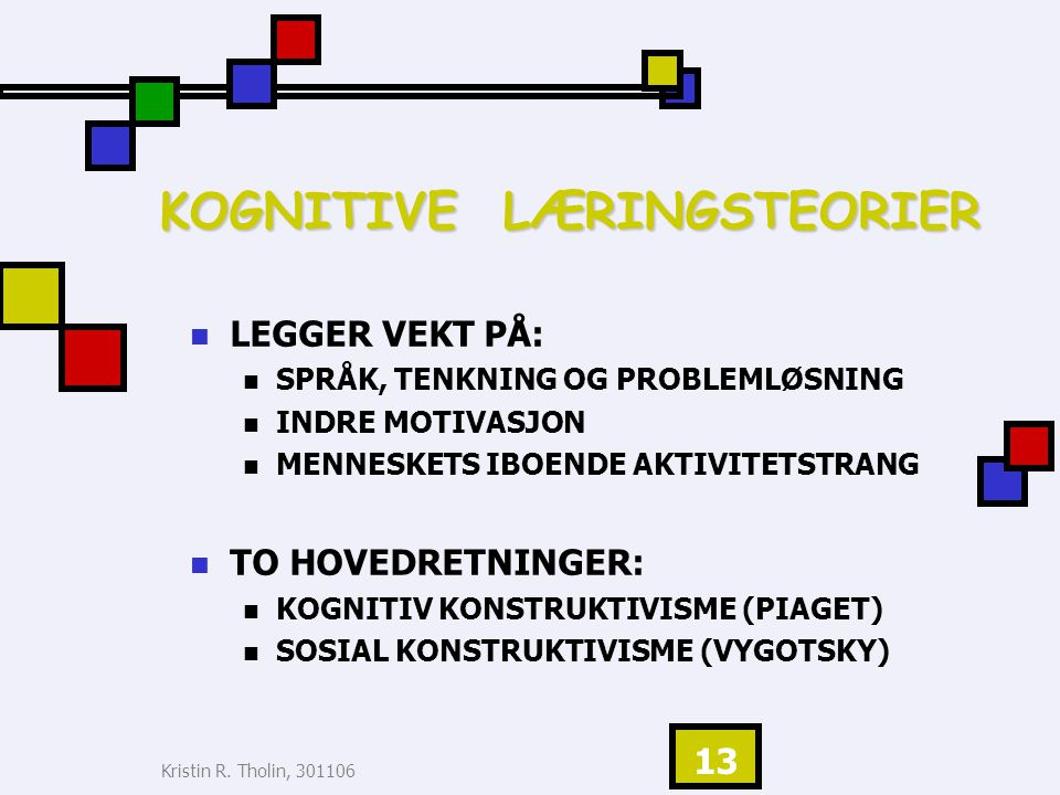 KOGNITIVE LÆRINGSTEORIER
