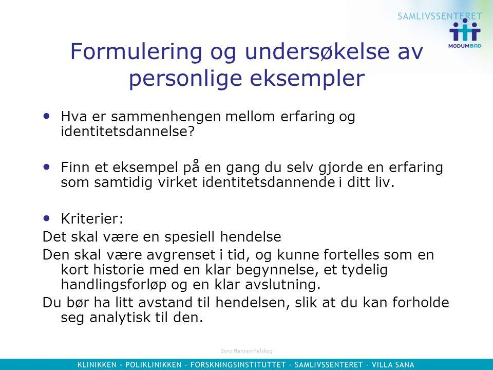 Formulering og undersøkelse av personlige eksempler