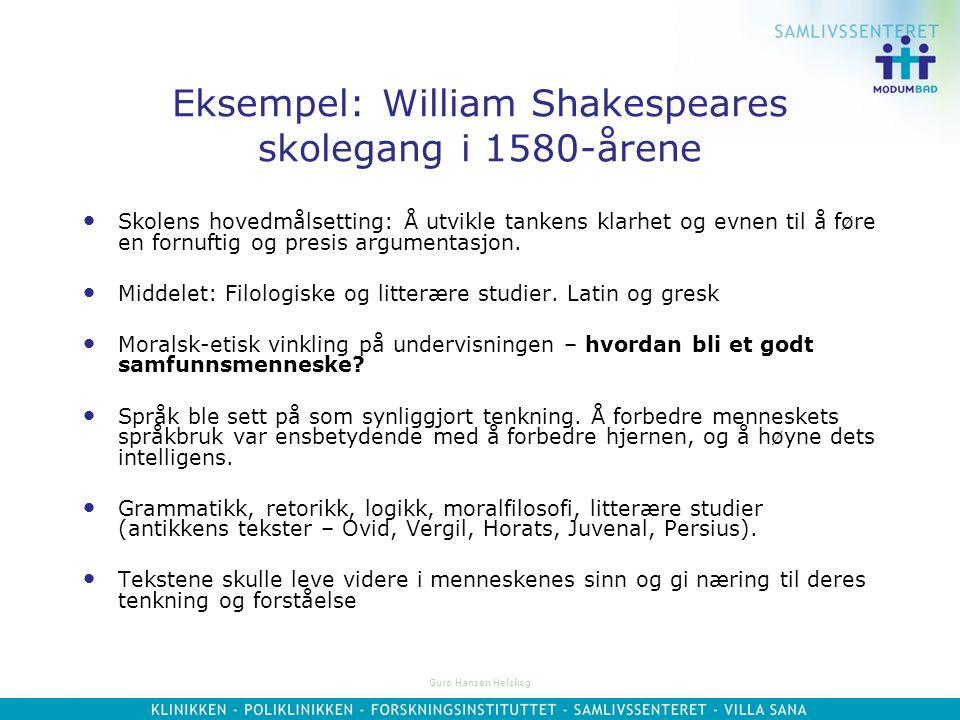 Eksempel: William Shakespeares skolegang i 1580-årene