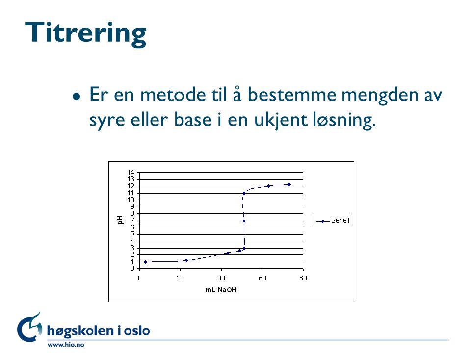 Titrering Er en metode til å bestemme mengden av syre eller base i en ukjent løsning.