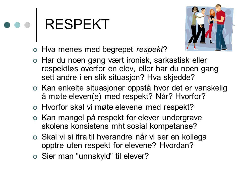 RESPEKT Hva menes med begrepet respekt