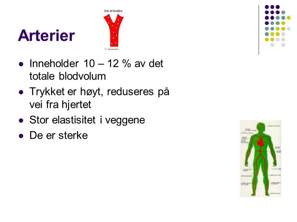 Arterier Inneholder 10 – 12 % av det totale blodvolum