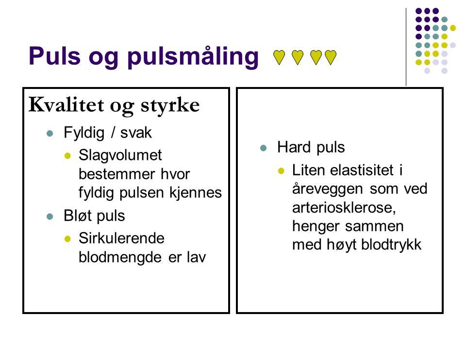 Puls og pulsmåling Kvalitet og styrke Fyldig / svak Hard puls
