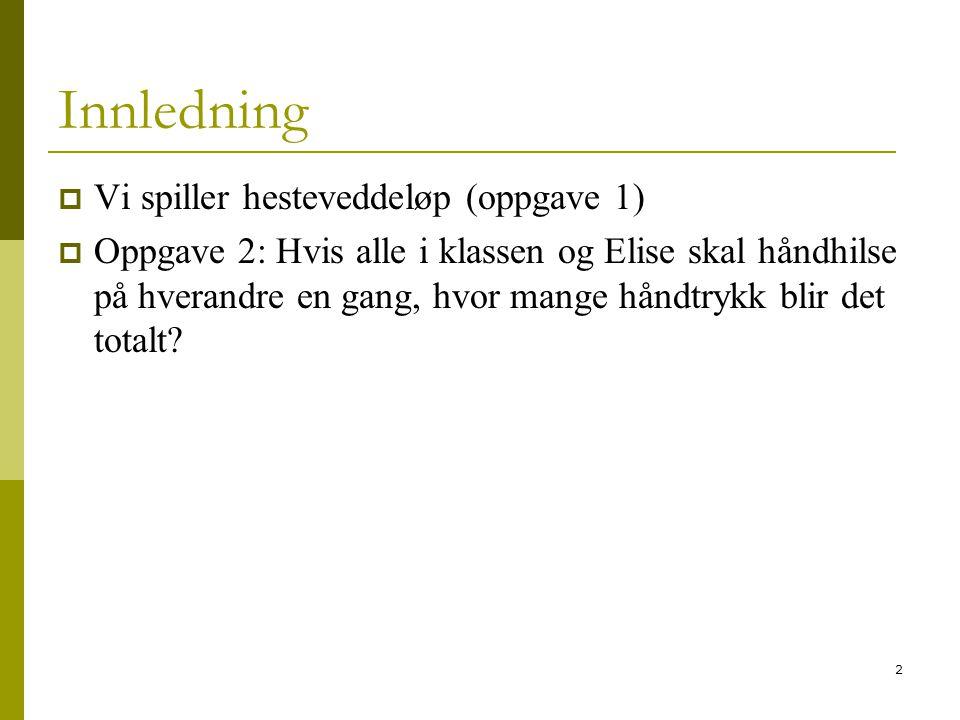 Innledning Vi spiller hesteveddeløp (oppgave 1)