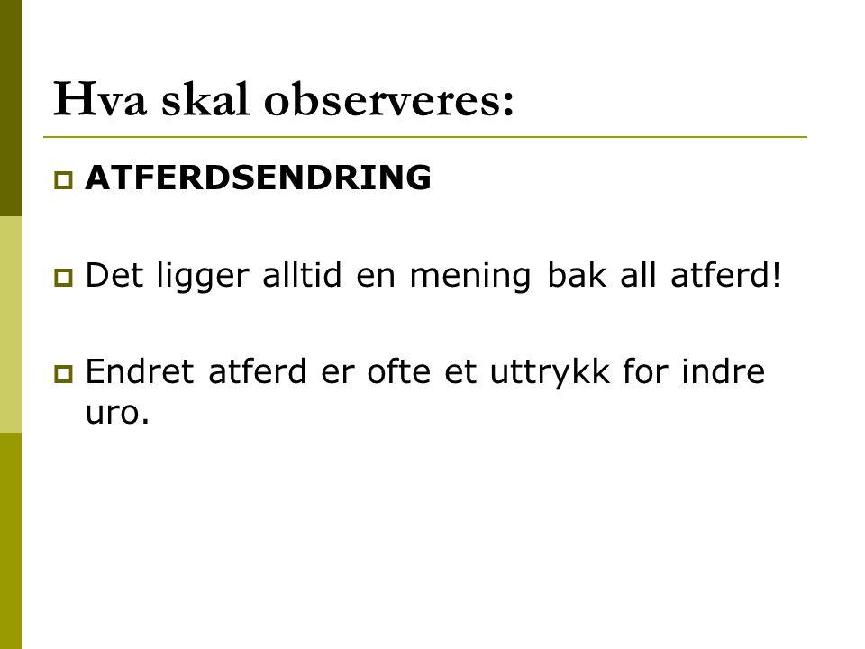 Hva skal observeres: ATFERDSENDRING