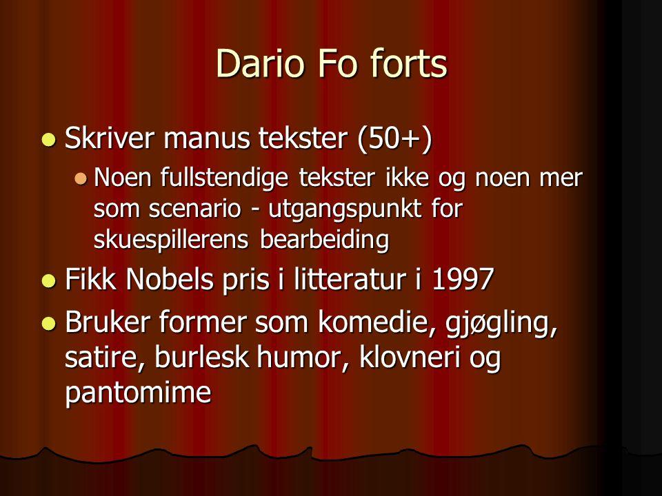 Dario Fo forts Skriver manus tekster (50+)