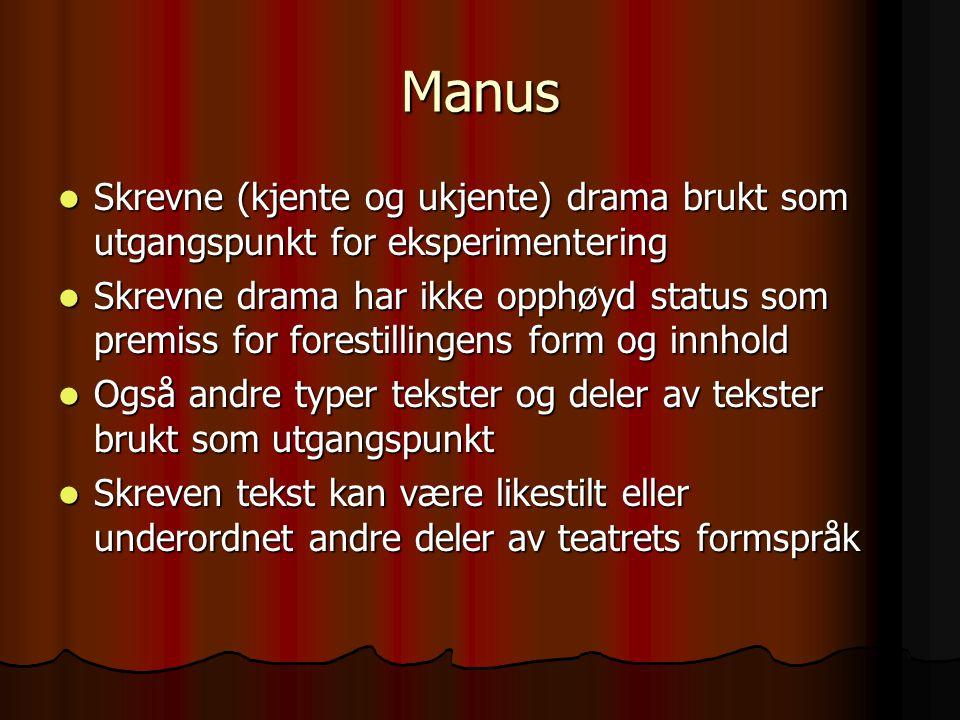 Manus Skrevne (kjente og ukjente) drama brukt som utgangspunkt for eksperimentering.