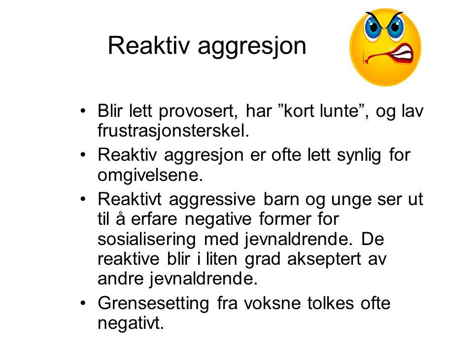 Reaktiv aggresjon Blir lett provosert, har kort lunte , og lav frustrasjonsterskel. Reaktiv aggresjon er ofte lett synlig for omgivelsene.