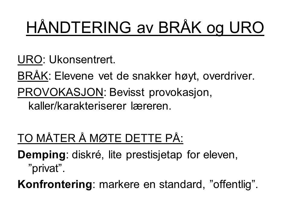 HÅNDTERING av BRÅK og URO