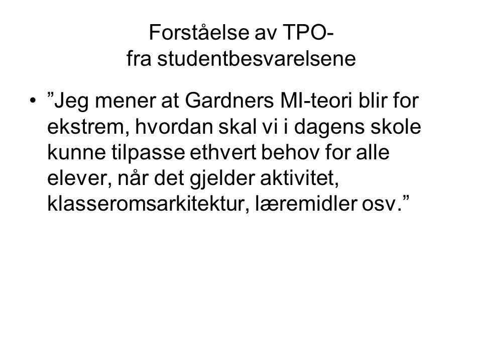 Forståelse av TPO- fra studentbesvarelsene