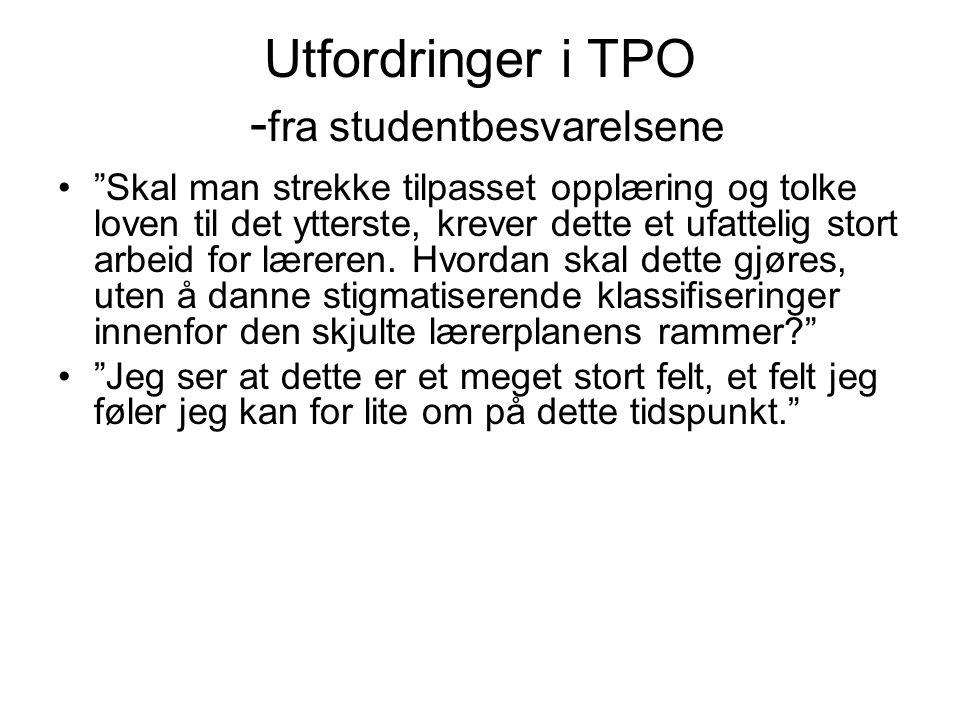 Utfordringer i TPO -fra studentbesvarelsene