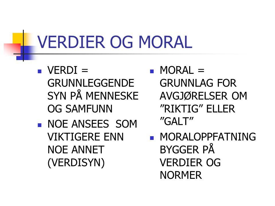 VERDIER OG MORAL VERDI = GRUNNLEGGENDE SYN PÅ MENNESKE OG SAMFUNN