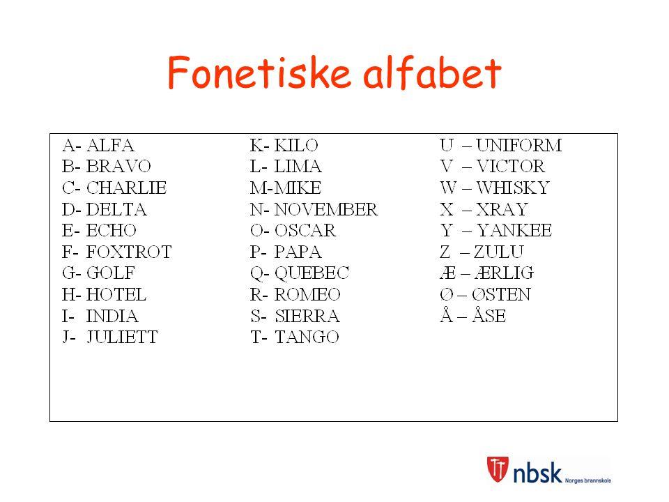Fonetiske alfabet Kan være en fordel å kunne da dette letter kommunikasjon med andre (lettere å forklare)