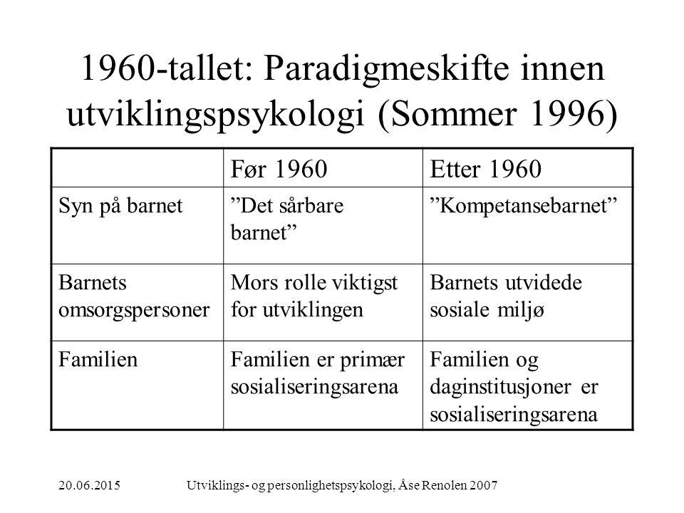 1960-tallet: Paradigmeskifte innen utviklingspsykologi (Sommer 1996)